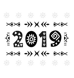 2019 greeting card scandinavian style vector image