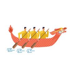 asian men in long boats in shape dragon vector image