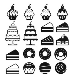 Bakery cakes icons set vector