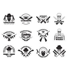 bandits labels mafia stylized monochrome badges vector image