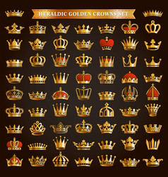 Big set golden crown icons vector