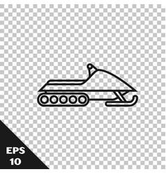 Black line snowmobile icon isolated on transparent vector