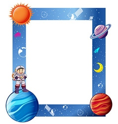 Border with astronaut and solar system vector