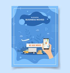 business moved hand hold smartphone pointer vector image