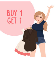 buy one get 1 free discount promo girl happy vector image
