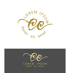 c c initials monogram logo design dry brush vector image