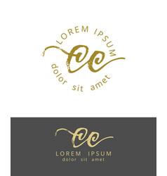 C initials monogram logo design dry brush vector