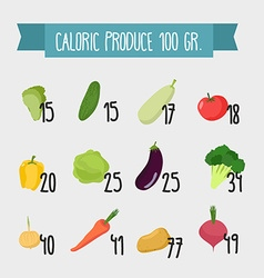 Calories in foods variety vegetables from vector