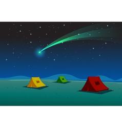 Camping under Comet vector