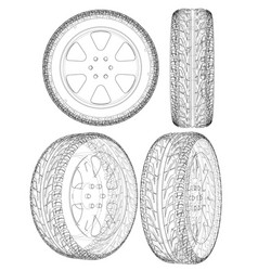 Car or truck tire drawing outline vector