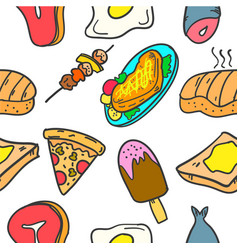 Collection stock of food various doodle set vector