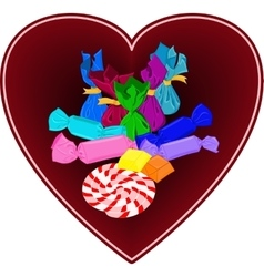 Colorful candies in heart Hand drawn candies vector image