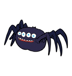 Comic cartoon spooky spider vector