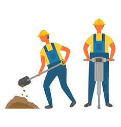 construction works digging and drilling ground vector image