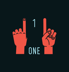 Count on fingers number one gesture stylized vector