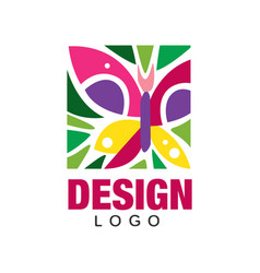 Creative label design with abstract butterfly and vector