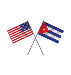 Cuban and American Flags vector