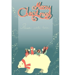 Cute angels and polar bear celebrating Christmas vector image