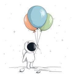 cute spaceman keeps a balloons vector image