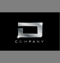 D silver metal letter company design logo vector