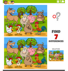 Differences educational game with farm animal vector