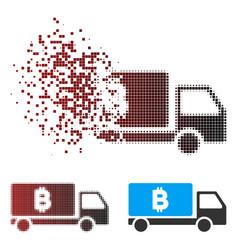 Dispersed pixel halftone bitcoin delivery car icon vector