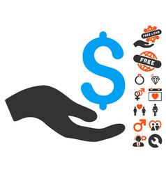 donation icon with love bonus vector image