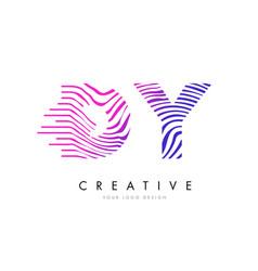 Dy d y zebra lines letter logo design with vector