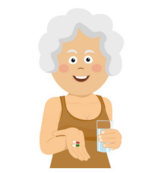 elderly woman holding pills and glass of water vector image