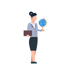 female teacher holding globe isolated woman over vector image