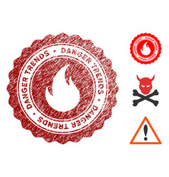 fire danger trends seal with distress style vector image