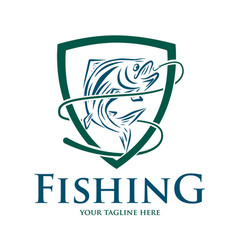 fishing logo design template vector image
