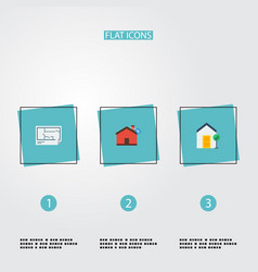 Flat icons hypothec blueprint choice and other vector