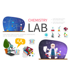 flat laboratory research infographic template vector image