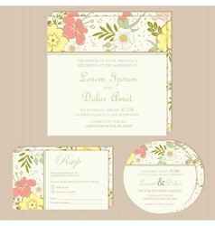 floral wedding invitation set vector image