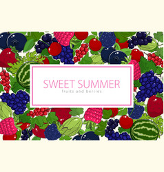 flyer of summer juicy ripe berries vector image