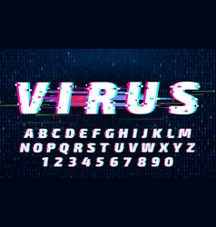glitch font letters and numbers with digital vector image