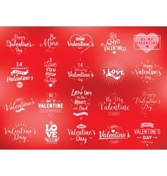 Happy Valentines day typography set design vector image