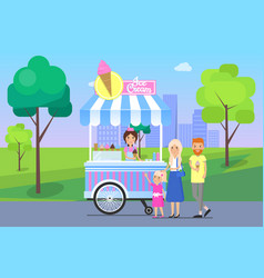 Ice cream stand and family vector