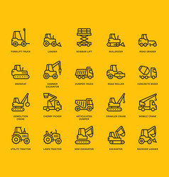 Industrial vehicles icons vector