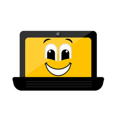 isolated happy laptop emote vector image