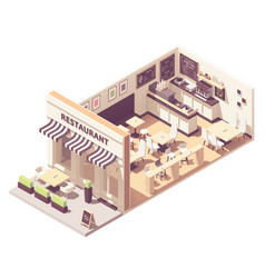 Isometric restaurant interior cross-section vector