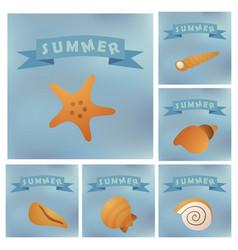 Kind sea shells sticker silhouette vector