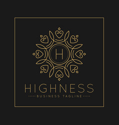 letter h logo with classic and luxurious line art vector image