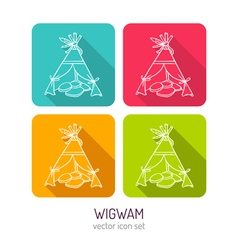 Line art wigwam icon set in four color variations vector