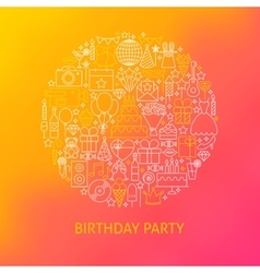 Line Birthday Icons Circle Concept vector image