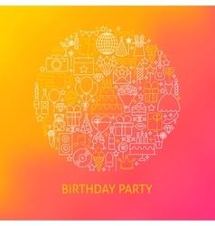 Line Birthday Icons Circle Concept vector