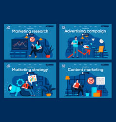 marketing research flat landing pages set vector image