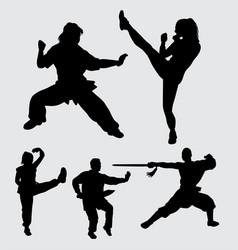 Martial art action silhouette vector