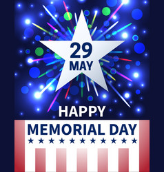Memorial day background with emblem and salute vector